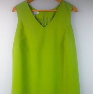 Lime green layered lined dress Roamans